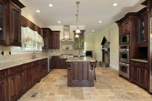 wood kitchen island brown tile floor cabinet
