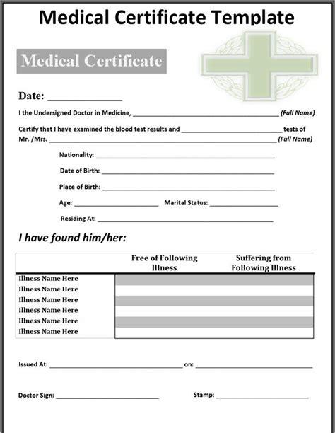 sick certificate template certificate sle free premium