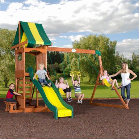 walmart outdoor swing sets backyard discovery weston cedar swing set walmart com