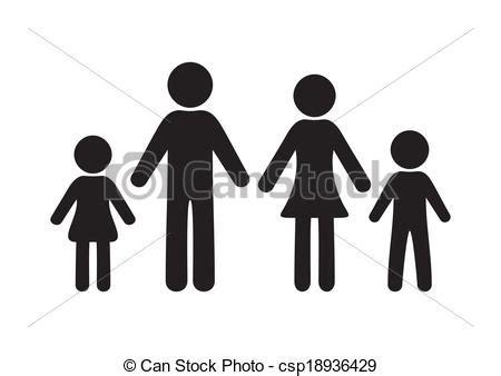 imagenes de una familia en blanco y negro ilustraciones de vectores de familia negro vector