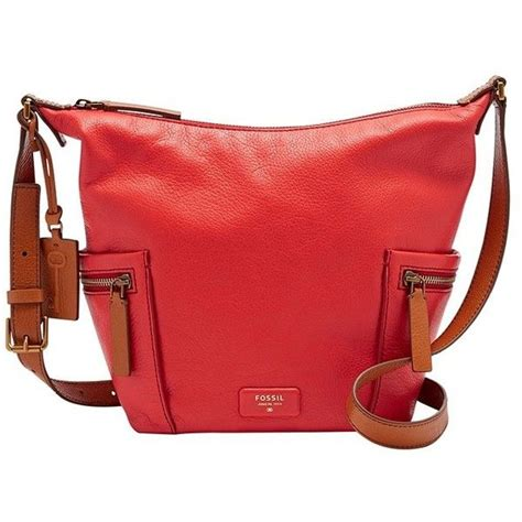 Fossil Emerson Hobo Pink Diskon fossil emerson small hobo zb6723616 color tomato 535 liked on polyvore featuring bags