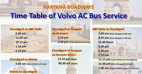 bus timings  bus schedule haryana roadways bus timing  schedule delhi chandigarh