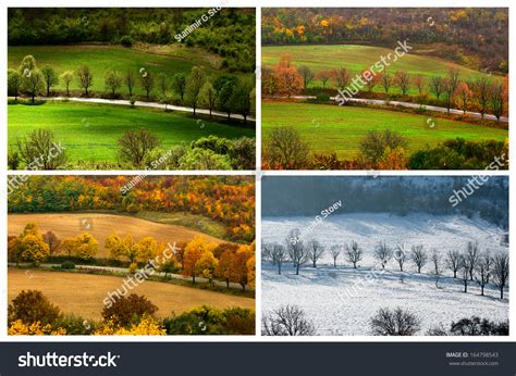 4 seasons landscape four seasons landscape with countryside views of preslav stock photo 164798543