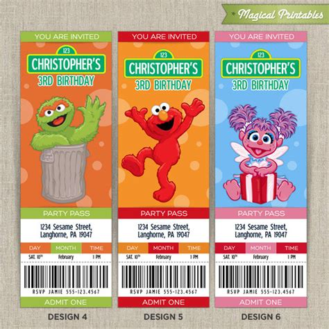8 best images of sesame street invitations printable