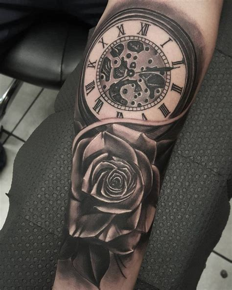 rose and clock tattoo meaning clock and ideas on clock tattoos 9