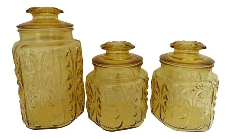 glass kitchen canisters sets glass kitchen canisters set of 3 chairish