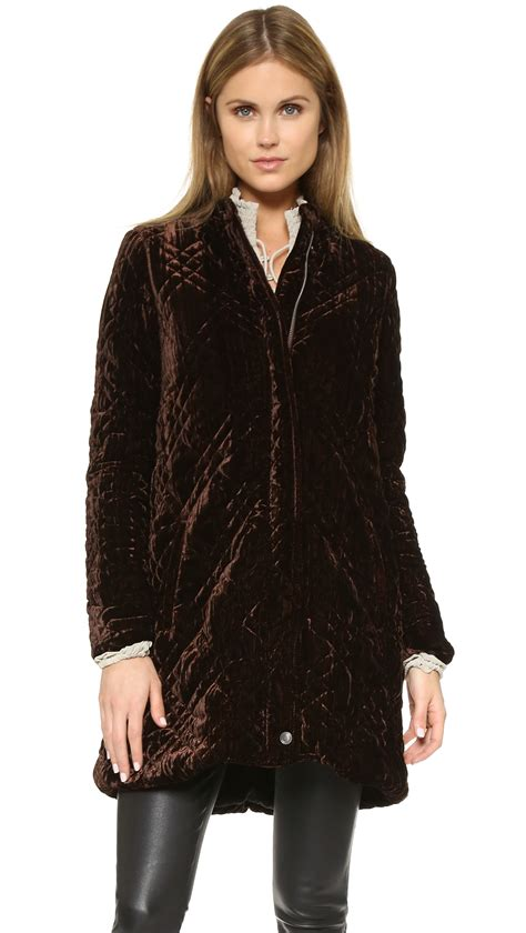 Trim Velvet Padded Coat brown quilted coat fashion s coat 2017