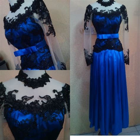 Stelan Batik Kebaya Bordir Bunga 3 4 Rok Span Embos Panjang Sb01 model kebaya warna biru newhairstylesformen2014