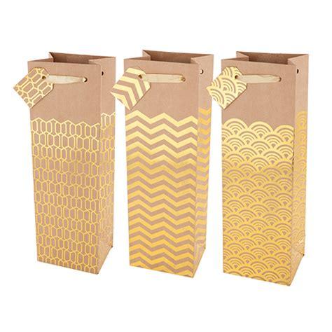 gold patterned kraft paper marketplace kraft gold patterned 1 bottle wine gift bag