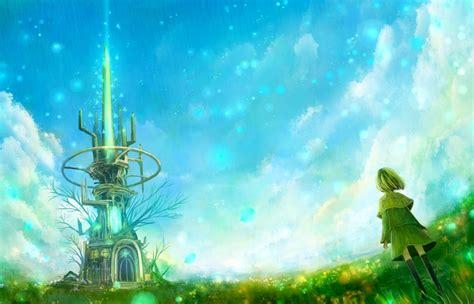 wallpaper green anime tower fields green hair anime girls green dress 1400x900