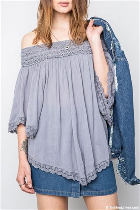 Shoulder Lace Tunic flowy the shoulder lace tunic top grey