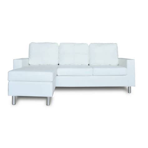 White Lounge Sofa by Pu Leather 3 Seat Sofa W Chaise Or Ottoman White Buy