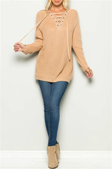 miracle lace up sweater from by poe and arrows