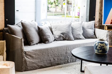 linen sofa covers australia grey linen slipcovered sofa