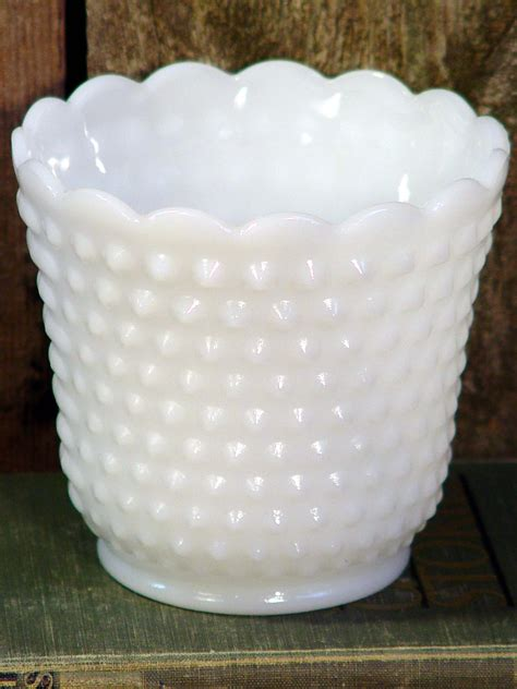 fire king milk hobnail milk glass vase vintage white wedding