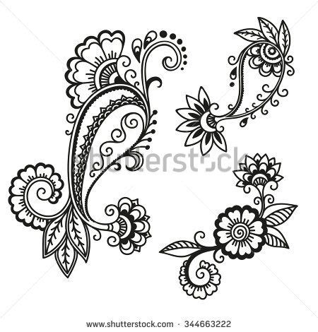 henna tattoo vorlagen ausdrucken henna tattoo flower template mehndi stock vector