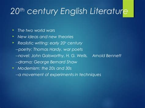 themes in british literature in the 20th century history of english literature