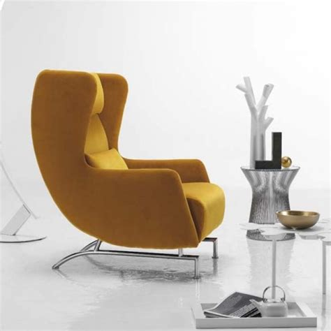 armchair contemporary bonobo modern yellow italian wing back armchair