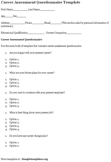 questionnaire template for career assessment template of