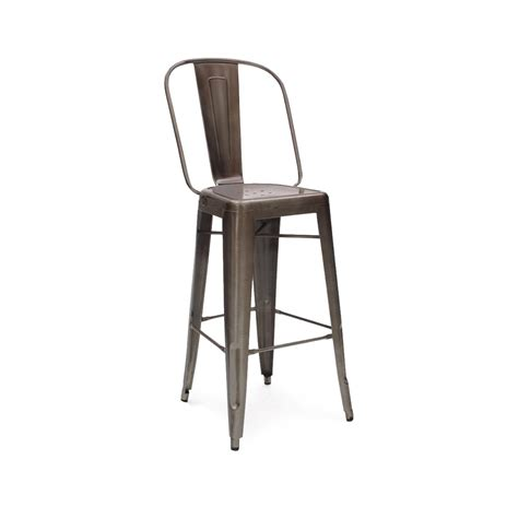 Industrial Bar Stool With Back Antique Industrial High Back Tolix Bar Stool Tablebasedepot