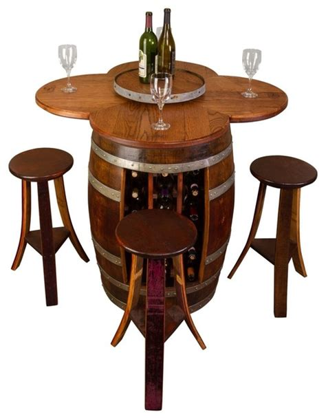 Rustic Bistro Table And Chairs Wine Barrel Table Set With Rack Base Rustic Indoor Pub And Bistro Sets By Napa East Collection