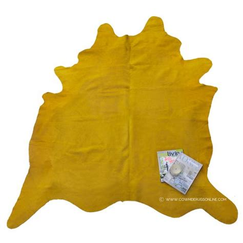 Yellow Cowhide Rug by Dyed Bright Yellow Cowhide Large Rug