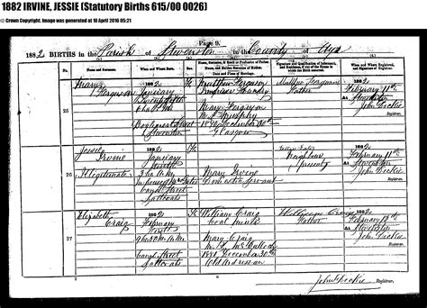 full birth certificate copy scotland hainings and related families
