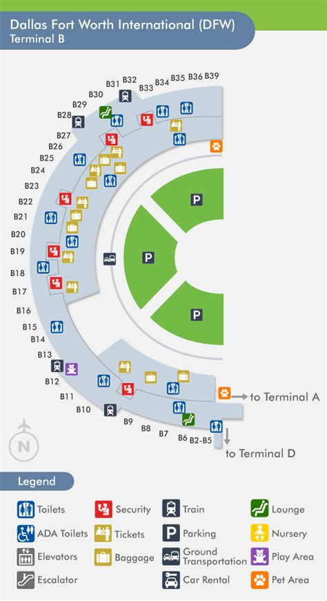 dallas texas airport map travelnerd terminal b