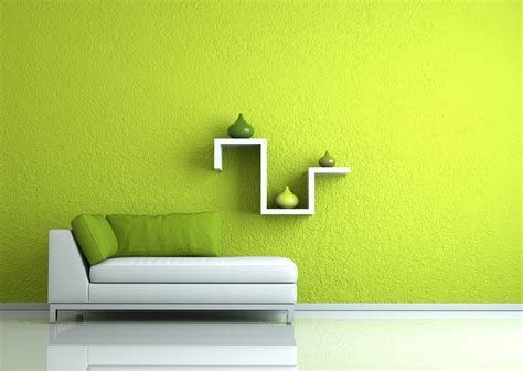 yellow background wall rendering for painting exhibition hall perfect green render living room