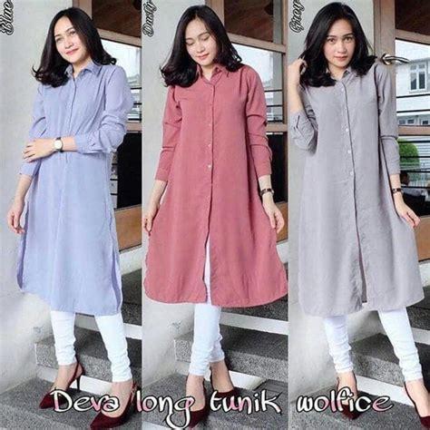 Fashion Wanita Muslim Atasan Tunik Nana Bahan Woolpeach atasan blouse deva tunik baju muslim blus muslim