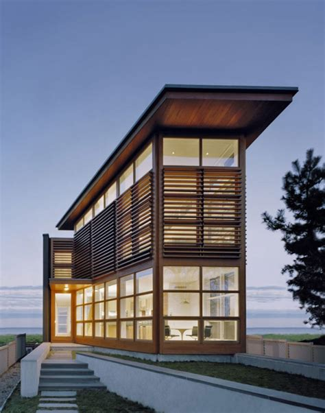 cypress clad waterfront residence with exceptional views