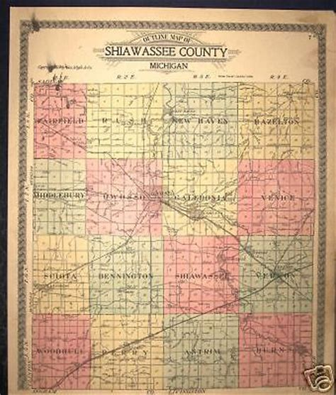 owosso mi map owosso perry shiawassee county michigan plat map 1915 ebay