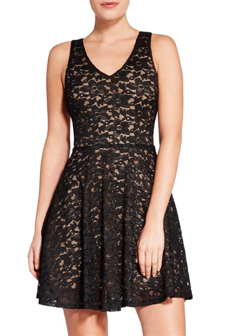 Id 860 Landscape Dress Black jf shelby fit and flare in black get great deals at justfab