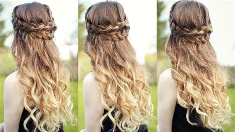 prom hairstyles half up half down curly curly half updo hairstyles beautiful half down half up
