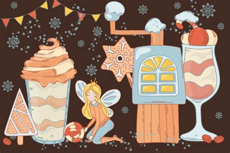 gingerbread fairy christmas cartoon set graphic  farawaykingdom creative fabrica