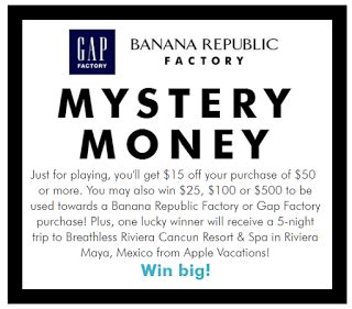 Free Instant Win - gap factory or banana republic factory mystery money instant win game