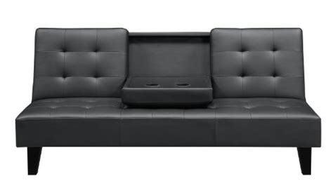 julia futon dhp julia convertible sofa bed with drink holder black