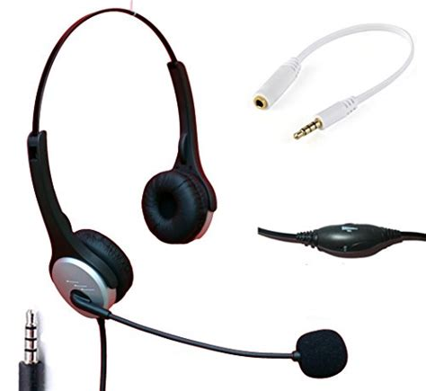 Headset Zte voistek wired cell phone headset with noise canceling boom mic adjustable headband for iphone