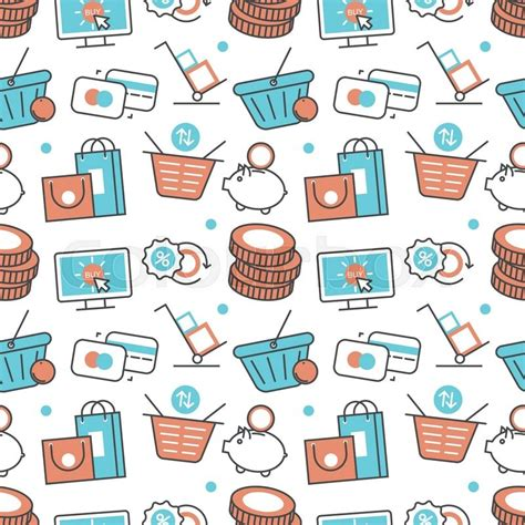 seamless pattern with shopping icons vector modern seamless pattern texture background of flat