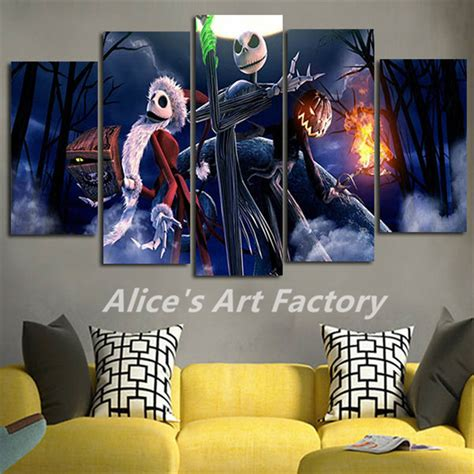 Jack Skellington Home Decor by 5piece Canvas Pictures Prints Calligraphy Painting Movie