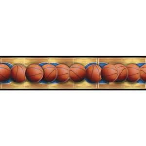 Western Wall Murals basketballs across the basketball court peel amp stick