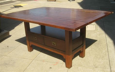 large old drop leaf kitchen table with double drawer
