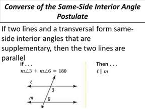 Supplementary Same Side Interior Angles by 3 3 Proving Lines Parallel Ppt