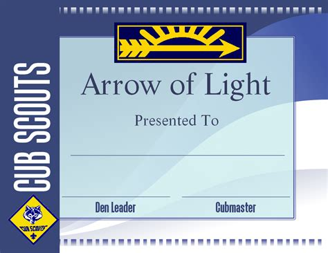 printable arrow of light certificate template cub scout