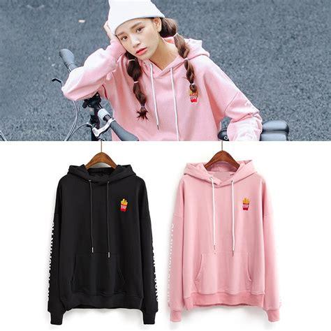V Hoody Spandek Korea Style harajuku sweatshirt 2016 korean style new coats pink embroidery fries