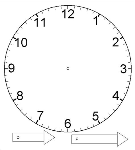 printable clock template with hands template for clock with moveable hour and minute hand