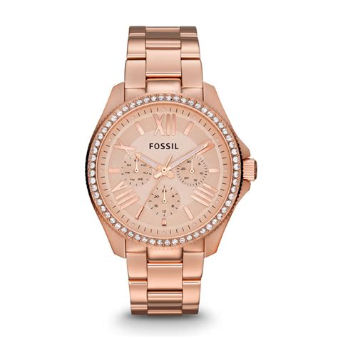 Fossil Am4483 Cecile damenuhr cecile edelstahl ros 233 gold am4483 fossil 174