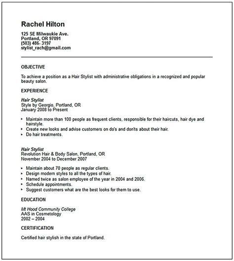hair stylist resume sles hair stylist resume is a must thing to and to offer