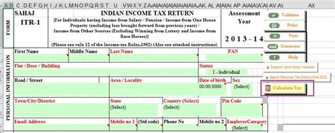Income Tax Section 10 38 by Fill Excel Itr1 80g Exempt Income Calculation Of Tax