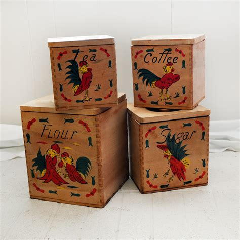 Wooden Canister Sets Painted By Olga Grimes 1950 S 1960 S Vintage Wooden Painted Fighting Roosters